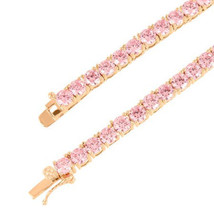 Men's Women's Pink Lab Diamond Tennis Chain Necklace Sizes 18 to 22 inches - $204.99