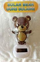 Figurine Solar Powered Dancing Brown Teddy Bear Wiggles in Sunlight New - $8.42
