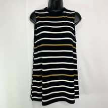 Ann Taylor Navy Blue Sleeveless Striped Pullover Sweater Rayon Spandex Sz M - $11.54