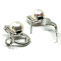 SOLID 18K WHITE GOLD CLIPS EARRINGS, SALTWATER AKOYA PEARLS 8/8.5 MM, DIAMONDS image 3