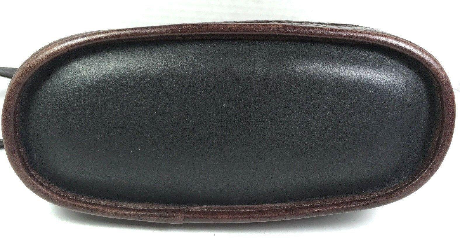 Vintage Black Leather with Brown Reptile Print Trim Bucket Shoulder Bag