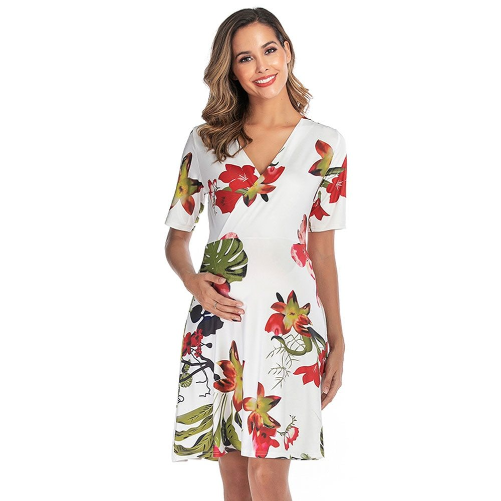 Maternity's Dress V Neck Short Sleeve Floral Print Dress
