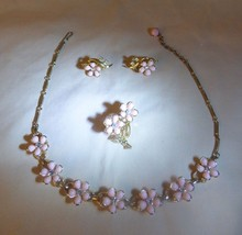 1950's Necklace Clip Earrings Pin Set Pink Plastic Florals Rhinestones Goldtone - $39.60