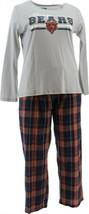 NFL Women's Pajama Set Long Slv Top Flannel Pants Bears XXXL NEW A387687 - $30.67