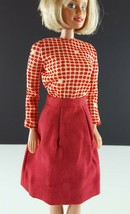 Barbie Clone Red Linen Like Skirt w/ Print Blouse 1960s Clothing - $14.84
