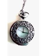 Vintage Style Silver Tone Pocket Watch Necklace Quartz Battery Included New - $19.75
