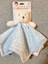 NEW Blankets and & Beyond Security Blanket NUNU Blue White POLKA DOTS Lovey - $19.53 CAD