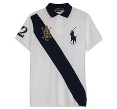 Ralph Lauren  Custom Slim Fit Big Pony & Crest Logo Navy Banner Polo Shirt  L - $58.00