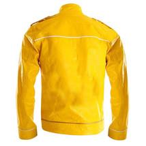 Freddie Mercury Wembley Concert Military Strap Queen Yellow Leather Biker Jacket image 3