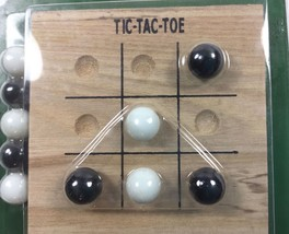 Tic Tac Toe Small Travel Size Solid Wood Board 10 Glass Marbles 4 x4 Inc... - $9.88