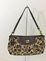 Coach Wristlet Madison Ocelot Signature Bag Clutch  Multi Brown B25 - $64.34
