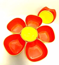 Avon Party Bowl Set Orange Yellow 12 Piece Fun Flower Stackable Bowls Lids - $26.72