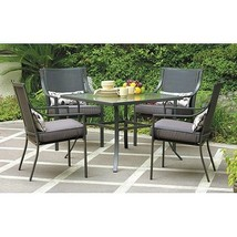 Outdoor 5pc Dining Set Patio Pack Waterproof Steel Chairs Seats Table St... - $298.11