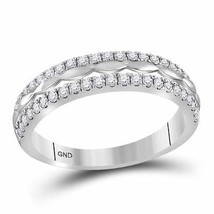 14kt White Gold Womens Round Diamond Double Row Band Ring 3/8 Cttw - £382.52 GBP