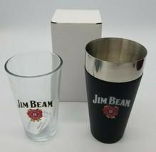 Jim Beam Signature Barware Cocktail Shaker & Pint Glass Set Brand New in... - $14.73