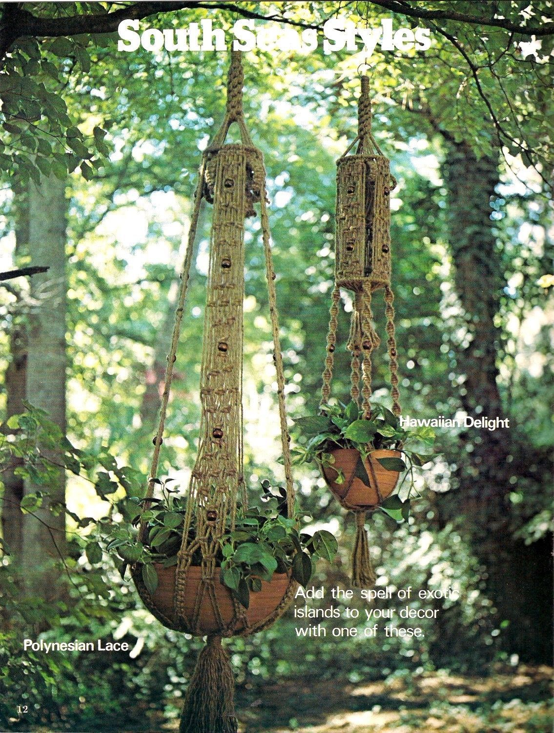 Vintage 1976 Natural Knots Macrame Plant holders, Wall Hangings & Hanging Tables