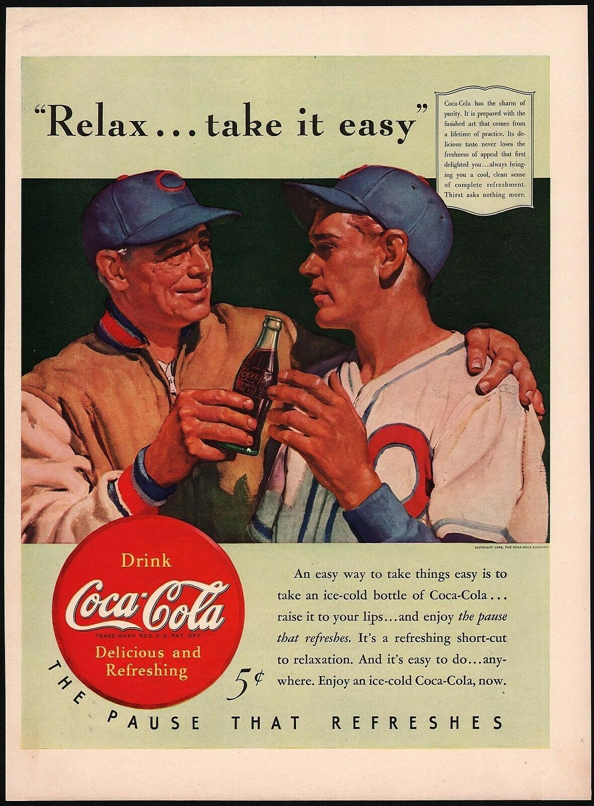 Primary image for Vintage magazine ad COCA COLA 1940 Relax Take It Easy baseball player and coach