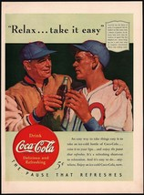 Vintage magazine ad COCA COLA 1940 Relax Take It Easy baseball player an... - $11.69