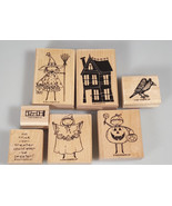 Stampin up Halloween rubber stamp set haunted house crow trick or treaters - $45.00