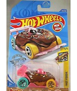 2020 Hot Wheels #108 Fast Foodie 1/5 DONUT DRIFTER Brown/Pink w/Teal-Yel... - $6.85