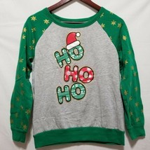 Christmas Sweatshirt Juniors M Green Gray Holiday Graphic Fleece Pullover - $8.39