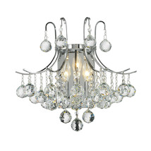 "3-Light Chrome Finish D 16"" x H 16"" Empire Clear Crystal Ball Wall Sconc... - $177.21"