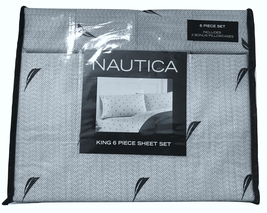 Nautica Cotton Herringbone Navy Blue Sailing Motif King Sheet Set, 6 Pcs - $95.50