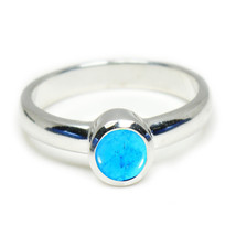 Natural Turquoise Gemstone Silver Rings Band Round Cut Bezel Setting Han... - $13.17