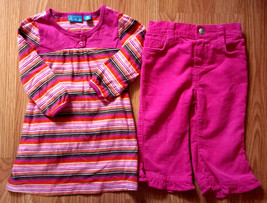 Girl's Size 12 M Months 2 Pc Pink Striped Children's Place Dress, Corduroy Pants - $17.50
