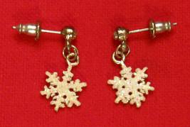 Avon SNOW FLAKE Dangle Earrings Rhinestone Nickel Free Pierced Studs - £11.05 GBP