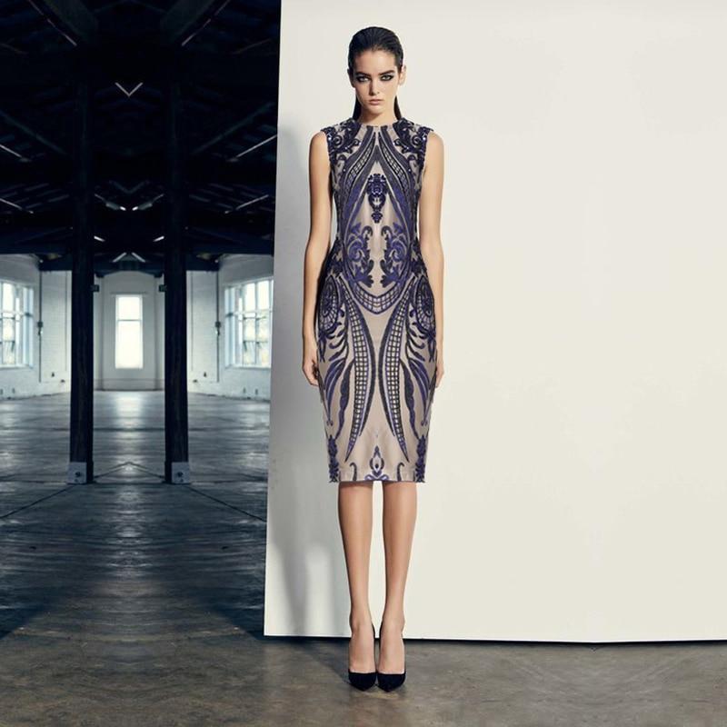 Ew arrival fashion sequin dress women sleeveless o neck elegant blue beige bodycon evening party