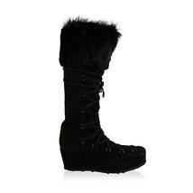 Authentic Stuart Weitzman Black Suede Lace Up Wedge Boots Size 39.5 - $133.65