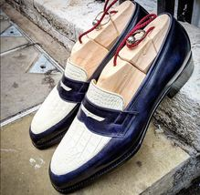 Handmade Men's Blue Leather & White Crocodile Texture Slip Ons Loafer Shoes image 5