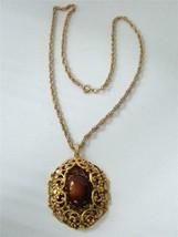 Vintage Victorian Revival Oval Filigree Pendant Necklace Gold Brown Glas... - $19.79