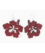 Green Tree Jewelry Hibiscus Flower Wooden Laser Cut Earrings #1085 Brown - $9.99