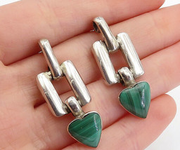 MEXICO 925 Silver  - Vintage Malachite Love Heart Linked Drop Earrings -... - $53.02