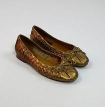 BZ MODA Bronze Gathered Ruffled Leather Ballet Flats Loafer Shoes Size 3... - $14.84