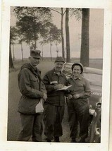 Antique Photograph Military Men & Woman with Vintage Army Cars Parked Fr... - $6.93