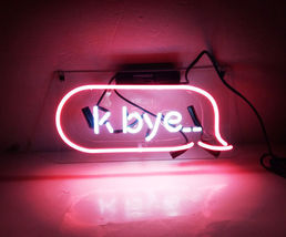 "New K Bye Pink Bar Wall Decor Acrylic Back Neon Light Sign 14"" Fast Ship - $60.00"