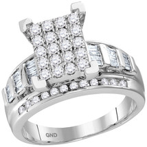 10kt White Gold Round Diamond Cluster Bridal Wedding Engagement Ring 7/8... - £671.71 GBP