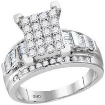 10kt White Gold Round Diamond Cluster Bridal Wedding Engagement Ring 7/8... - £682.27 GBP
