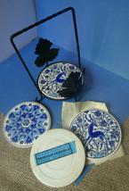 Vintage Decor Barware Handmade Greece TASSOULIS CERAMICS Coasters Metal ... - $20.00