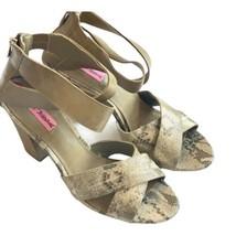 Betsey Johnson Gold snakeskin strappy sandals heels metallic shoes 10 Women - $29.69