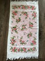 New! VTG MCM Tastemaker Pink Rose Floral Fringed Bath Towel Shabby Chic ... - $12.22