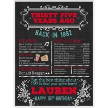 35th Birthday Chalkboard Born in 1982 Stats Sign Photo Prop Poster - ₨1,636.72 INR+