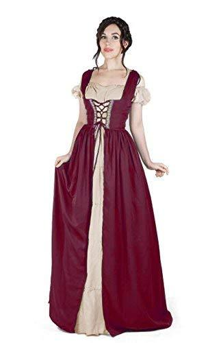 Boho Set Medieval Irish Costume Chemise and Over Dress (2XL/3XL, Burgundy/Sand)