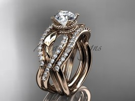 Tree ring set, Unique engagement ring, 14kt rose gold flower double wedd... - $2,765.00
