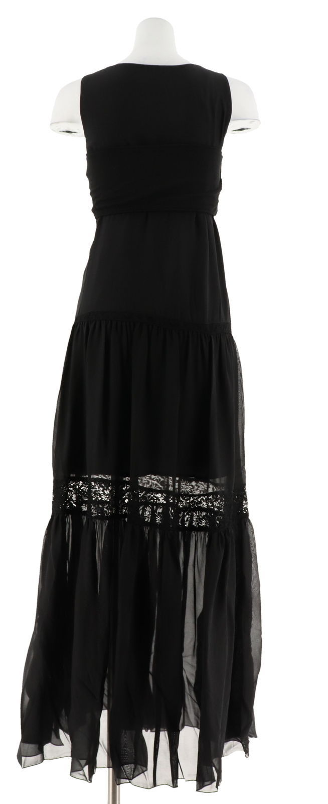 GILI Silk Tiered Lace Trim V-Neck Slvless Maxi Dress Noir Black 8 NEW A264109