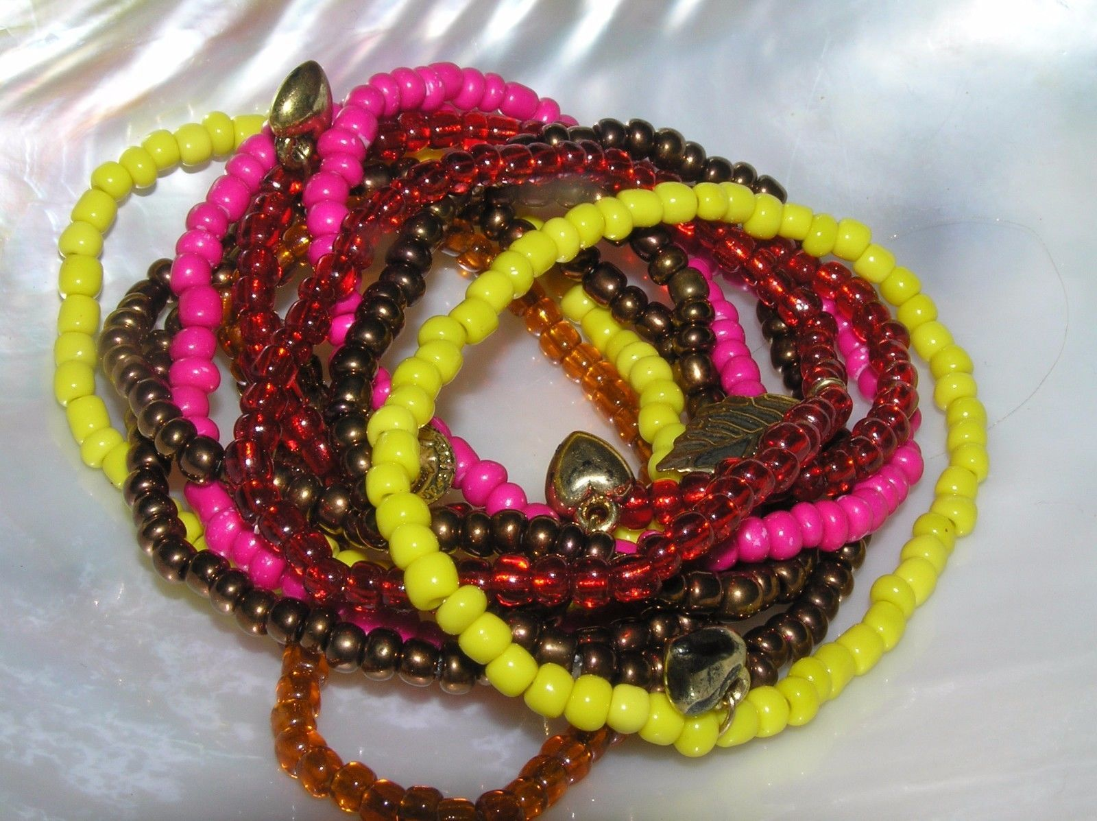 Estate Lot of 10 Yellow Pink Red & Bronze Bead with Small Charms Stretch Brace