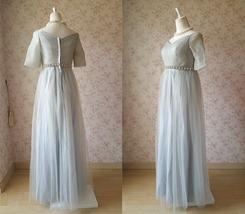 Light Gray Cap Sleeve Sweetheart Off Shoulder Floor Cocktail Dress Wedding Dress image 2